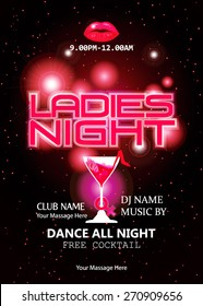 Ladies night party celebration.design or poster, backdrop, flyer, banner or template