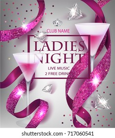 Ladies night party invitation pink card with sparkling ribbons, glasses of cocktail and diamonds. Vector illustration
