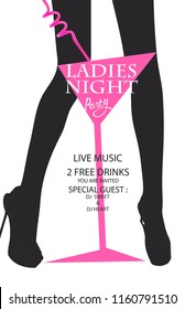 Ladies night party with silhouette of woman's legs and cocktail glass. Vector illustration