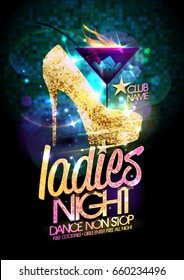 Ladies night poster with high heeled shoes decorated golden crystals and burning cocktail.