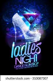 Ladies night poster illustration with high heeled diamond crystals shoes and burning cocktail.
