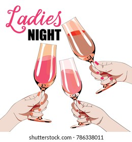 Ladies night. Vector illustration of three womens hands holding the glasses with drinks. White background