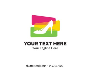 ladies shoes logo , ladies shoes simple logo creative design in flat style with color . shoes logo creative design for identity and business