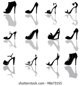 ladies shoes silhoeuttes for shopping, dress up and ladies stuff icons
