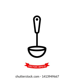 ladle icon in trendy flat style, soup ladle vector icon, kitchen utensil icon