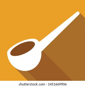Ladle vector icon isolated on yellow background