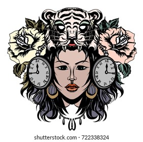 Lady with animal helmet tattoo.beautiful girl with tiger head among rose flower and clock tattoo.Tiger face and women.