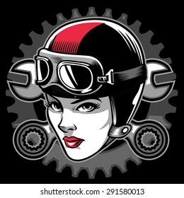 lady biker head