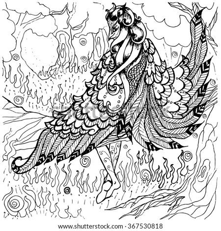 Lady Bird Coloring Page Adults Fantasy Stock Vektorgrafik