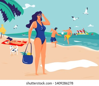 Lady in blue swimsuit and sunglasses on sandy beach with couple of people in background. Vacation / holidays illustration.