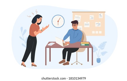 Lady boss is dissatisfied with the work of the employee. The leader shouts at the subordinate. Worker afraid dispotic lady boss. Woman tyrant Pressure on employees. Woman Chef Flat Vector Illustration