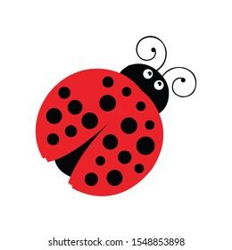 lady bug cartoon icon on a white background