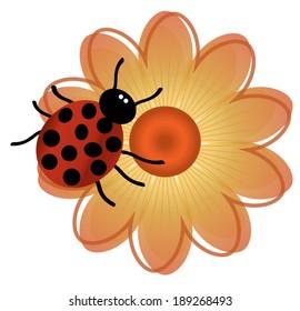 Lady Bug Flower. Cartoon Lady Bug rests on orange and yellow cartoon flower