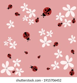 Lady bugs light pink flower pinkbackground