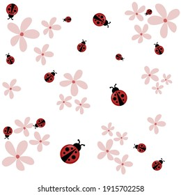 Lady bugs with pink flowers white background