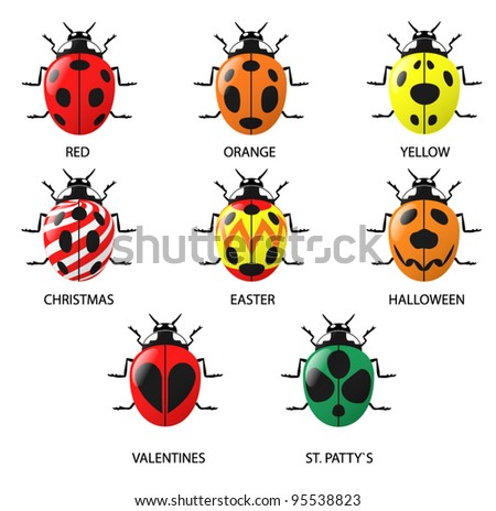 Lady Bugs (real and imagined). A set of 9 Lady Bugs both real and imagined (includes Christmas, Easter, Halloween, Valentine and St. Patty`s day themed Lady Bugs).