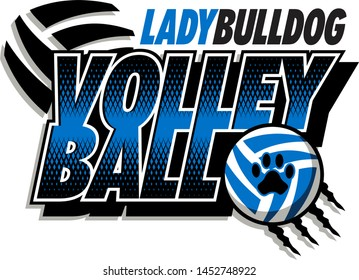 lady bulldog volleyball team design with ball and paw print for school, college or league