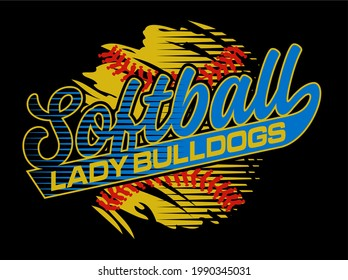 lady bulldogs softball team design with ball and stitches for school, college or league