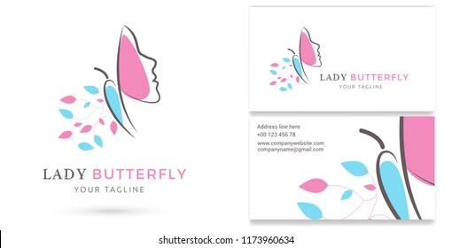 Lady Butterfly, Spa and beauty Logo & Business card template