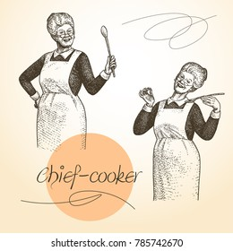Lady Chef. Cooking. Vintage vector illustrations