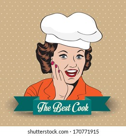 Lady Chef,  retro illustration in vector format