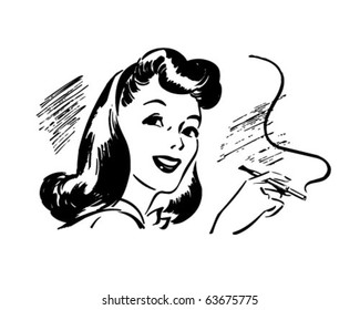 Lady With Cigarette Holder - Retro Clipart Illustration