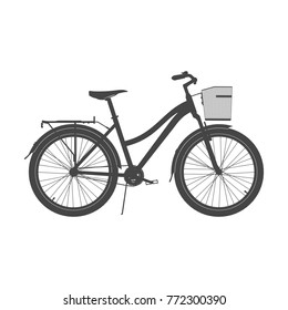 Lady City Bike Silhouette. Women's Comfort Bicycle Vector Illustration.