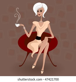 Lady with a coffee cup