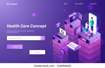 Lady consulted to doctor through mobile application, isometric  medical equipments on purple background for Health Care web template design.