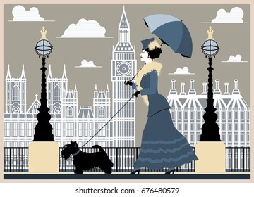 A lady with a dog walks along the waterfront in London. Handmade drawing vector illustration. Vintage style
