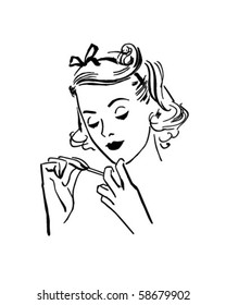 Lady Doing Her Nails - Retro Clip Art