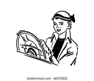 Lady Driver - Retro Clip Art