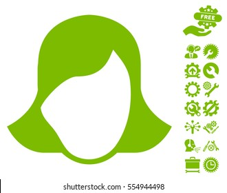 Lady Face Template icon with bonus options pictograms. Vector illustration style is flat iconic eco green symbols on white background.