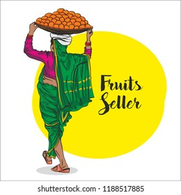 lady Fruits seller in india sketch. vector Illustration
