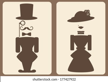 lady and gentleman abstract symbols