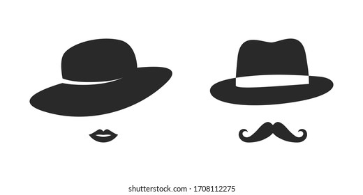 Lady and gentleman retro icons vector image