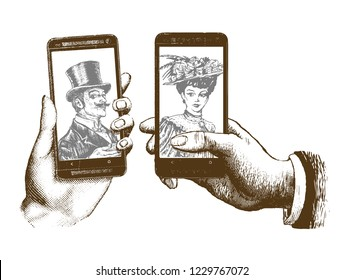 lady and gentleman taking selfie template with hand holding mobile with photo. Hand drawn engraving style retro vintage vector illustration of the modern smartphone