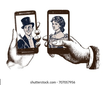 Lady and gentleman taking a selfie. Template with hand holding mobile with photo. Hand drawn engraving style pen hatching paper painting retro vintage vector illustration of the modern smartphone