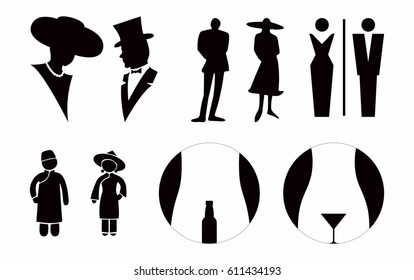 Lady and Gentlemen Toilet sign vector