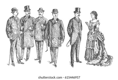 lady and gentlemen. Vintage Hand Drawn Set. Clothing. Retro Illustration in ancient engraving style