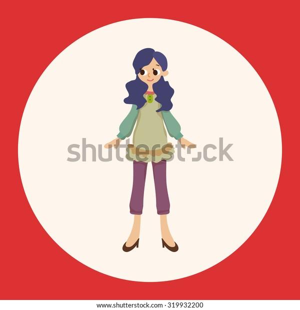 lady girl cartoon theme elements vector,eps