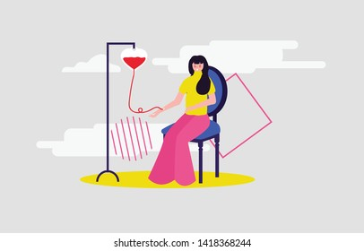 A lady girl woman patient is a donate red blood transfusion sitting in hospital Illustration