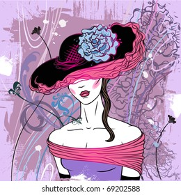 Lady in hat with flower - vector (see jpg version in my portfolio)