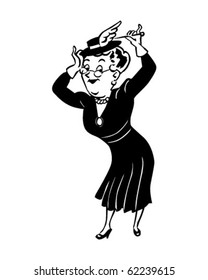 Lady With Hatpin - Retro Clipart Illustration