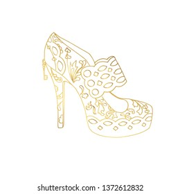 Lady hogh heels or woman T-strap, girl shoes. Golden female boot with doodle style pattern, women clothing ornamental accessory. Glamor and shopping art, hand drawn boutique theme for coloring book