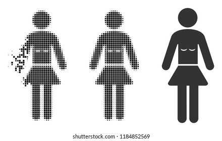 Lady icon in dispersed, dotted halftone and entire variants. Particles are organized into vector disappearing lady shape. Disappearing effect involves rectangle particles.