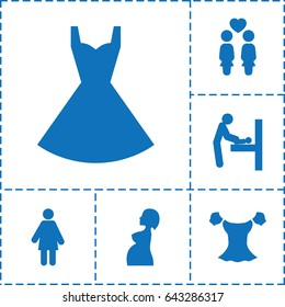 Lady icon. set of 6 lady filled icons such as baby changing room, blouse, dress, women couple, pregnant woman