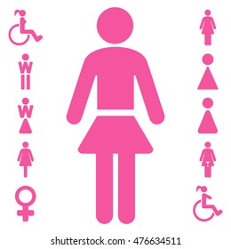 Lady icon. Vector style is flat iconic symbol, pink color, white background.