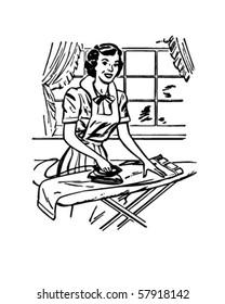 Lady Ironing - Retro Clip Art