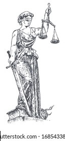 Lady justice with blindfold. Themis with a sword of justice and weights. Judiciary symbol. Retro vintage hand drawn engraving vector illustration